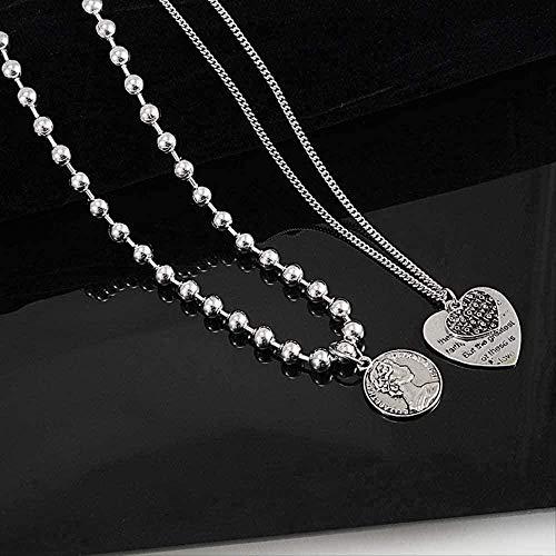 ZJJLWL Co.,ltd Necklace Queen Love Heart Layered Necklace Collares Choker Men Women Punk Stainless Steel Long Necklace Hip Hop Jewelry