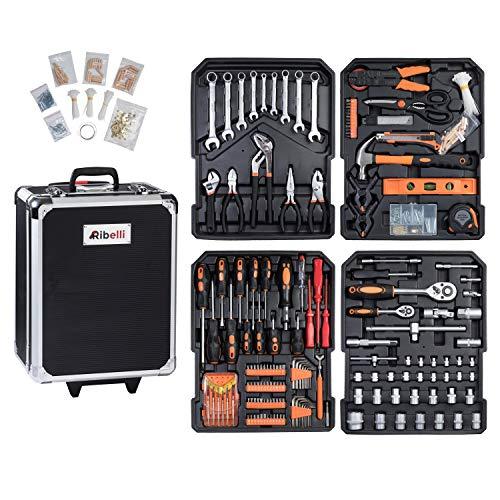 Werkzeugkoffer Werkzeugset Werkzeug im praktischen Koffer Universal Werkzeugkiste Werkzeugkasten für den Haushaltbereich Werkzeugtrolley inkl. vielseitigem Zubehör Werkzeugtrolly (899-teilig)