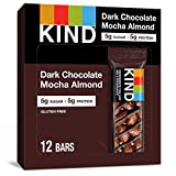 KIND Healthy Snack Bar, Dark Chocolate Mocha Almond, 5g Sugar | 5g Protein, Gluten Free Bars, 1.4 OZ, 12 Count