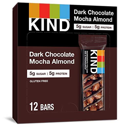 KIND Healthy Snack Bar, Dark Chocolate Mocha Almond, 5g Sugar   5g Protein, Gluten Free Bars, 1.4 OZ, 12 Count