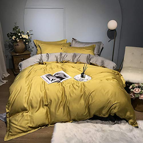 Yaonuli Le Tencel beddengoed, 4-delig, voor eenpersoonsbed, eenkleurig, geel, 1,8 m (6 voeten)