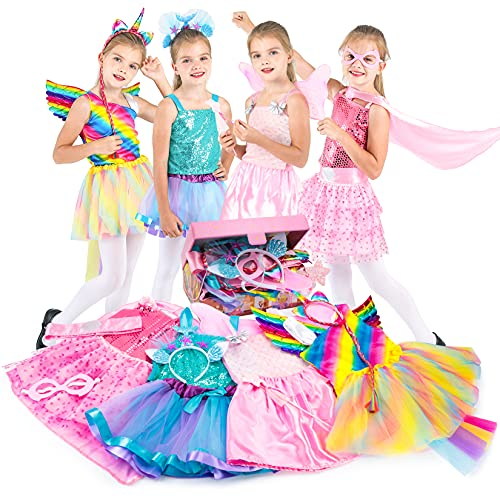 Fedio Girls Princess Dress up Trunk Pretend Play Costume Set Super Girl, Unicorn,Fairy, Mermaid Costume for Toddlers Little Girls Ages 3-6 Years