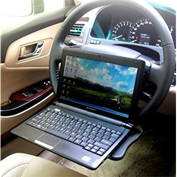 E-Bro Black Portable Car Laptop Desk and Steering Wheel Tray Multi Tray/Stand Work Dining Table