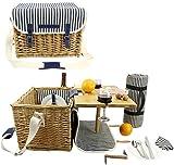 Panier de pique-nique en osier pour 2, kit de pique-nique pour 2 personnes, coffret cadeau de service de panier de saule avec une table à vin en bambou