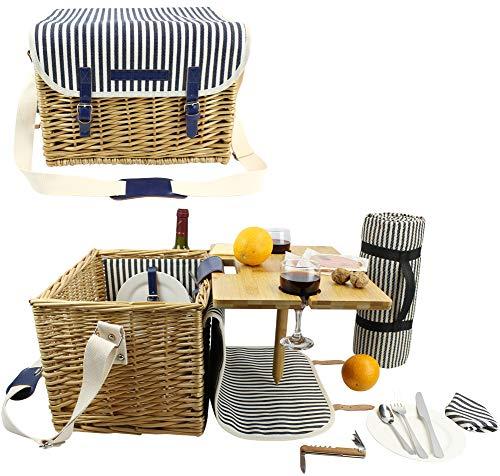 Wicker Picknickkorb für 2, 2 Personen Picknick-Set, Willow Hamper Service Geschenkset mit Bambus Weintisch für Camping und Party im Freien MEHRWEG