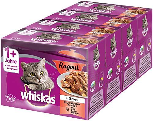 Whiskas 1 + Katzenfutter Ragout – Klassische Auswahl in Gelee – Hochwertiges Nassfutter mit wichtigen Inhaltsstoffen – 48 Portionsbeutel à 85g
