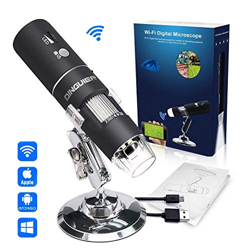 Wireless Digital Microscope, DINGUIER 50X to 1000X Magnification WiFi USB Microscope with 8 LED HD 1080P 2MP Camera, Handheld Microscope Endoscope Magnifier for iPhone Android, iPad Windows MAC