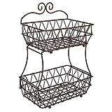 Upgraded Version - TQVAI 2 Tier Fruit Bread Basket Display Stand - Screws Free Design, Bro...