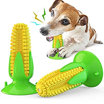 Acecy Dog Chew Toys Indestructible, Puppy Toothbrush Clean Teeth Interactive Corn Suction Cup Squeaky Toys for Small Medium Large Breed