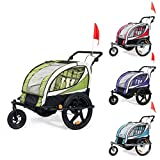 SAMAX Children Bike Trailer 2in1 Kids Jogger Stroller with Suspension 360° rotatable Childs Bicycle Trailer...