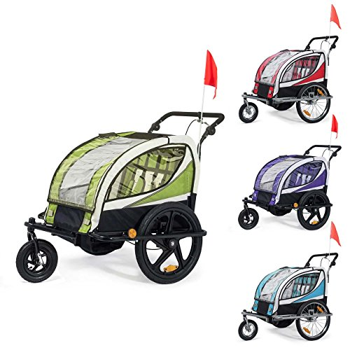 SAMAX Fahrradanhänger Jogger 2in1 360° drehbar Kinderanhänger Kinderfahrradanhänger Transportwagen vollgefederte Hinterachse für 2 Kinder in Rot - Silver Frame