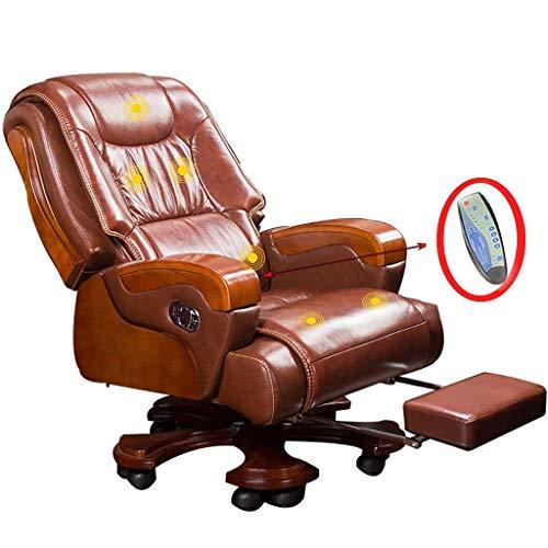 DDPHC ergonomische managersstoel, bureaustoel met ultiem comfort, PU-lederen bekleding, bureaustoel met verlengde beensteun en verstelbare rugleuning bruin