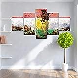 ZhuHZ Soldat Flagge HD-Druck Malerei Poster Leinwand Malerei Poster 5 Stück modulare Kunst Bild Home Decoration Drop Transport