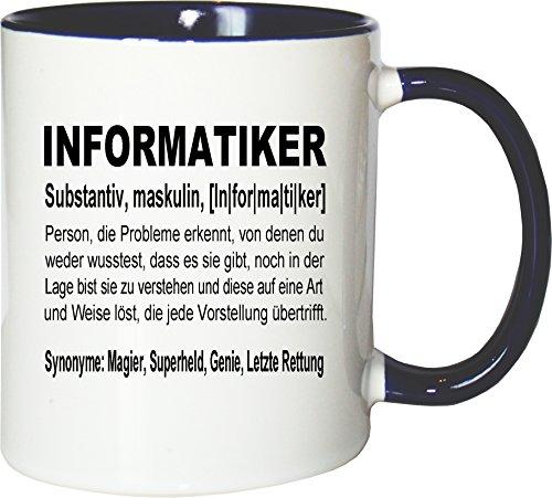 Mister Merchandise Kaffeebecher Tasse Informatiker Definition Geschenk Gag Job Beruf Arbeit Witzig Spruch Teetasse Becher Weiß-Blau