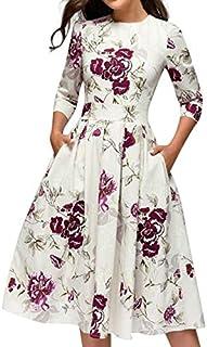 Dress for Women, Botrong Elegent A-line Vintage Printing Party Vestidos Dress Large White