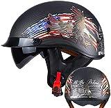 YAUUYA Casco de Motocicleta Casco Jet Casco Abierto Dot/ECE Certificado Cruiser Chopper Pilot Medio Casco con Gafas Fibra de Carbono Harley Medio Casco de Motocicleta,A-M=(57~58cm)
