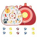 Juego de Dardos para Niños, Tablero de Dardos de Doble Cara, Dardos de Los Niños, con 10 Dardos Bolas Adhesivas, para Niños Adultos Juego Dardos Tiro Seguro para Interiores y Exteriores, 43 x 40 cm
