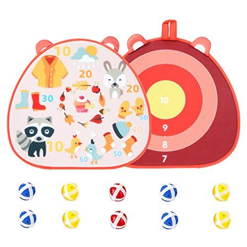 Doppelseitige Dartscheibe, Stoff Dartscheibe, Kinder Dartscheibe mit 10 Sticky Balls Darts, Kinder Dart Brettspiel, für Kinder Erwachsene Sicheres Dart Wurfspiel für Drinnen und Draußen, 43 x 40cm