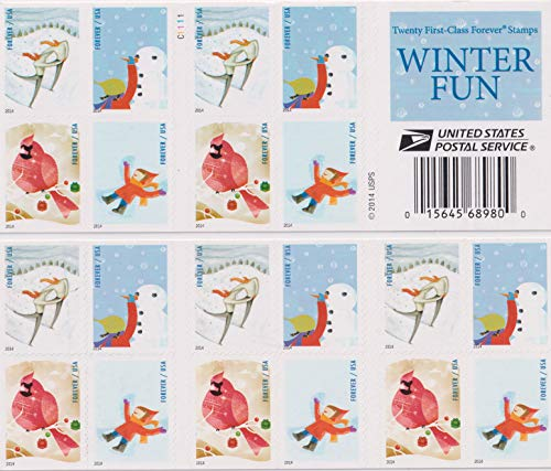 USPS Forever Postage Stamps Winter Fun Booklet of 20