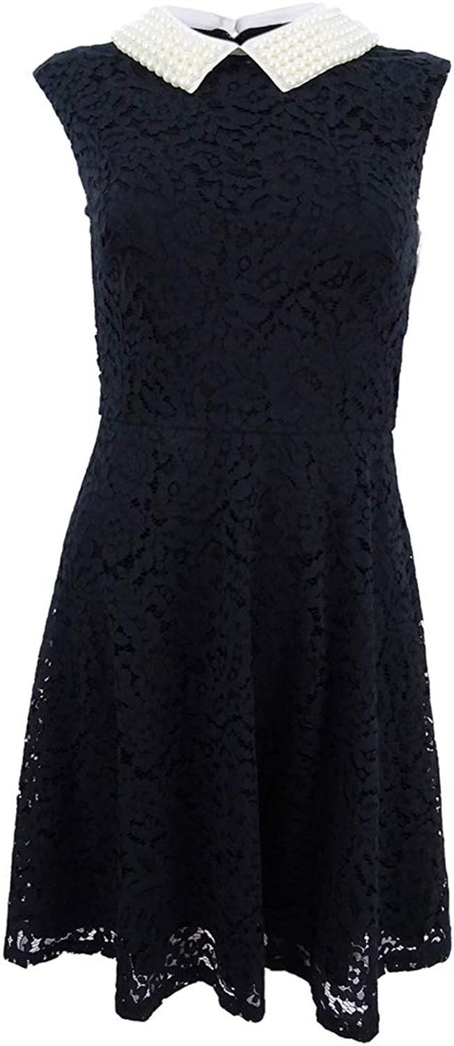 Betsey Johnson Womens Beaded Collar Lace Overlay Cocktail Dress