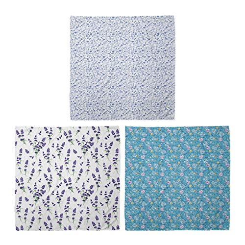 ABAKUHAUS Unisex Bandana, Kleine Blüten Romantische Lavendel Blumenstrauß Romantik Blumen auf blauem Hintergrund, 3er Pack, Mehrfarbig