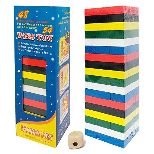 KING JUGUETES Jenga Multicolor (Incluye Dado), Torre de Equilibrio, Torre de Colores, Juego de Apilamiento, Juego de Habilidad, Juego Educativo, Bloques de Construcción, Juego para Niños y Adultos
