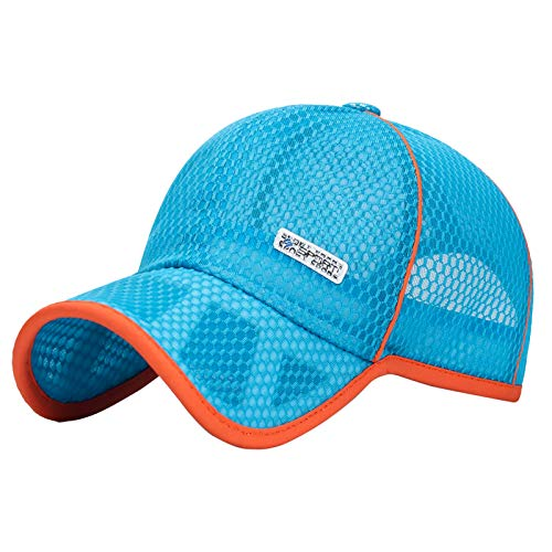 FEOYA Jungen Kappe Sport Baseballkappe Verstellbar MützeKinder UV SchutzSonnenhutOutdoorSommer Atmungsaktiv Hut - B-Hellblau