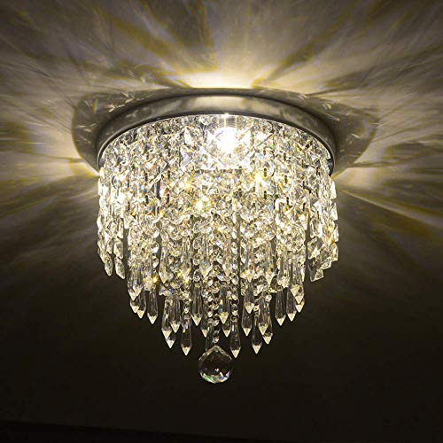 Discount4product Crystal Glass Chandelier Width 12 Inch for Living Room Ceiling Light 30cm Width (1 Led Light 2 watt) (Warm White)