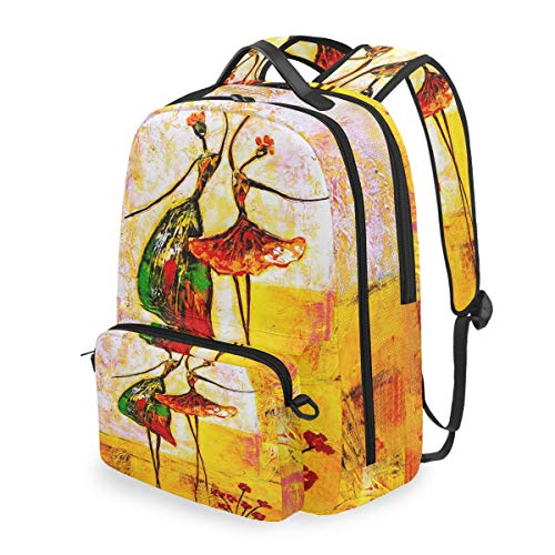 QMIN Sac à dos pour peinture à l'huile et danseuse de ballet détachable pour l'école de voyage Collège sac à dos sac à dos organiseur pour garçons filles femmes hommes
