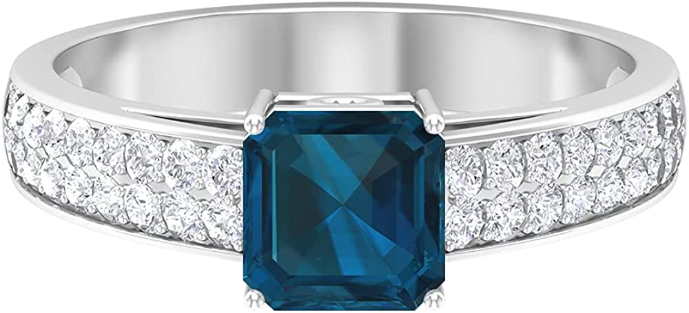 D-VSSI 1.45 CT 6 MM Asscher Cut Blue Topaz - London Ring, Solitaire Engagement Ring, Art Deco Wedding Ring, Antique Side Stone Ring,14K White Gold,London Blue Topaz,Size:US 8.00
