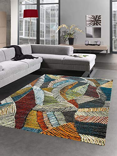 CARPETIA Tapis Design Tapis de Salon Feuilles Design coloré Größe 80x150 cm
