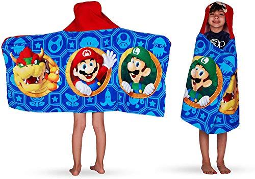 Super Mario Nintendo Hooded Towel Wrap Boys' Blue