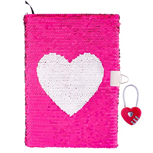 Reversible Magic Sequin Diary with Combination Lock - Color-Changing Pink and Silver Flip Sequins - Heart Pattern - Lined A5 Paper - Perfect Notebook or Journal for Girls, Tweens, and Teens