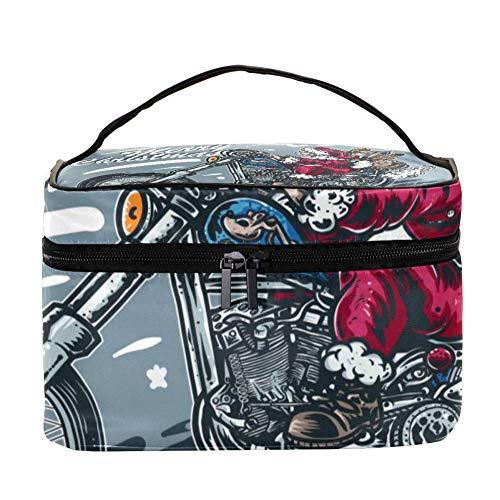 Royal Striped Snake and Flower Pattern Makeup Bag Cosmétique Storage Organizer - Trousse de toilette de voyage avec poignée, pinceaux de maquillage, rouge à lèvres