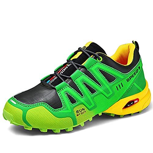 WANGT Botas para Caminar Hombre, Zapatos Ligeros para Senderismo Trekking Escalada Low Rise Ligero Enfoque Transpirable,Verde,39