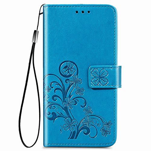 JIUNINE Hülle für LG K42, Handyhülle Leder Flip Hülle mit Glücksklee Muster [Kartenfach] [Magnetverschluss] Schutzhülle Tasche Cover Lederhülle für LG K42, Blau