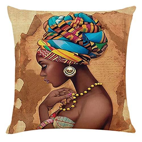 Muium(TM) Funda de cojín de 45 x 45 cm, diseño africano de mujer, funda de cojín decorativa para sofá, dormitorio, salón, decoración del hogar (A)