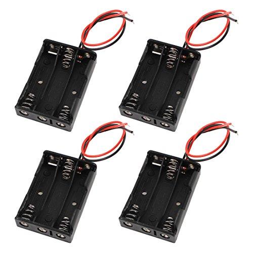 Sourcingmap 4 pcs Cables Conector 3 x AAA 1,5V batería Estuche de plástico Soporte Caja de Almacenamiento