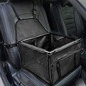 HIPPIH Small Dog Car Seat, Upgraded Booster Seat for Car with Whole Sturdy PVC Bars Frame, Pet Car Seat for Medium Dogs Under 11 lb, Waterproof Anti-Skid Mat Included