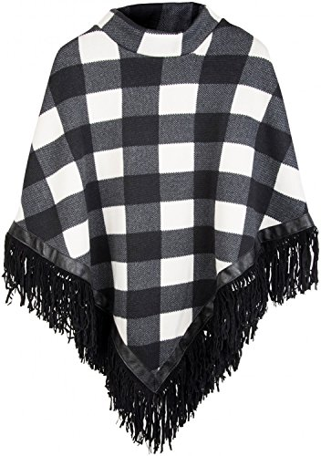 styleBREAKER Feinstrick Poncho mit Karo Muster im 2-Tone Look und Fransen am Saum, Damen 08010002, Farbe:Schwarz-Weiß