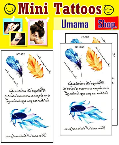 Umama Lot of 3 Mini Tattoos Feather Quill Pen Cartoon Tattoos Sticker Feather Tattoo Fake Art Body Arm Chest Shoulder Tattoos Painting Makeup Designs for Men Women