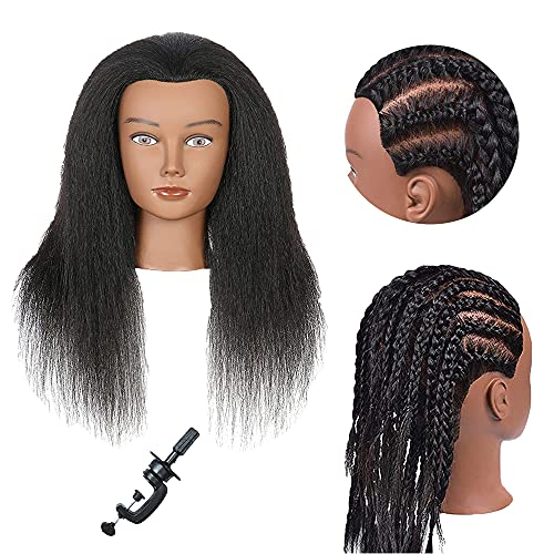 Training Head Mannequin Head with Human Hair 100% Real Hair Manikin Cosmetology Doll Head Hairdresser Practice Styling Training Head with Free Clamp Holder (16 inch-D1)