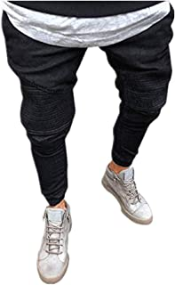 iYYVV Mens Stretchy Slim Fit Denim Pants Casual Long Straight Trousers Skinny Jeans
