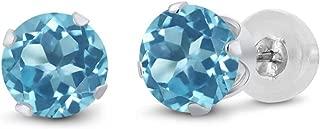 Gem Stone King 14K White Gold Swiss Blue Topaz Stud Women's Earrings 2.00 Ct Gemstone Birthstone Round 6MM
