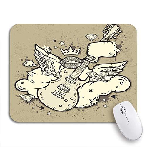 N\A Alfombrilla de ratón para Juegos Música Azul Rock Roll Alas de Guitarra Nube Naranja Funda de Goma Antideslizante Alfombrilla de ratón para portátiles Ordenadores Alfombrillas para ratón