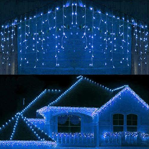 Joomer 300er LED Eisregen Lichterkette Eiszapfen Außen Lichtervorhang Weihnachten Lichter Transparent Kabel Innen Deko für Xmas Garten Party Hochzeit Strombetrieben mit Stecker(19.6ft, Blau)