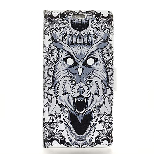 LMFULM® Hülle für Alcatel 3 2019 / 3L 5034D (5,94 Zoll) PU Leder Magnet Brieftasche Lederhülle Eule & Lion Muster Stent-Funktion Ledertasche Flip Cover für Alcatel 3 / 3L