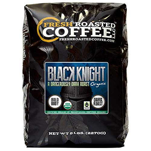 Fresh Roasted Coffee LLC, Black Knight Organic Coffee, Dark Roast, Whole Bean, 5 Pound Bag