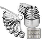 G.a HOMEFAVOR 20 Pcs Measuring Spoons & Measuring Cups Set - Durable Single Stainless Steel - 7 Measuring Cups and 9 Measuring Spoons+Level + Magnetic Measurement Conversion Chart