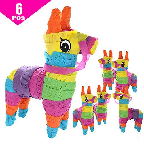 "GIFTEXPRESS 6 Pack 4""X7"" Mini Donkey Pinatas, Little Rainbow Donkey Pinatas for Birthday, Cinco De Mayo, Fiestas Decorations Party Favors"